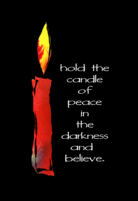 candle of peace holiday card pack