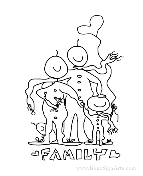 family - color a cloudie